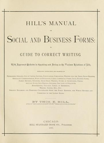 Download Hill's Manual of social and business forms