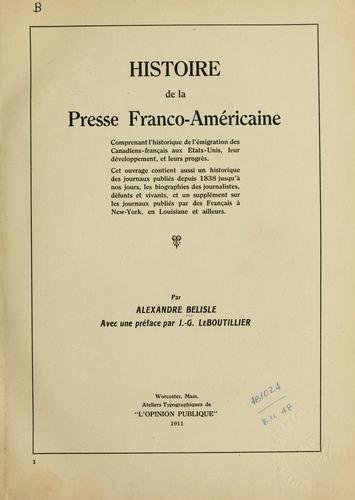 Download Histoire de la presse Franco-Américaine
