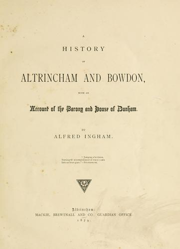 Download A history of Altrincham and Bowdon