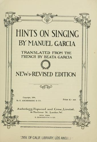 Hints on singing