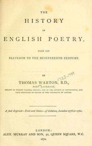 Download The history of English poetry