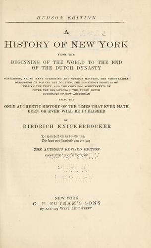 Download A history of New-York from the beginning of the world to the end of the Dutch dynasty
