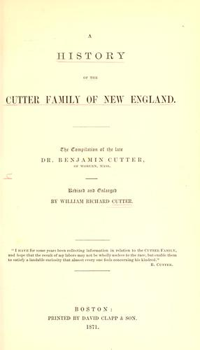 Download A history of the Cutter family of New England
