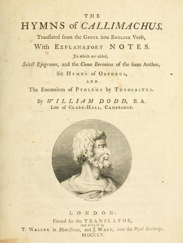 Download The hymns of Callimachus