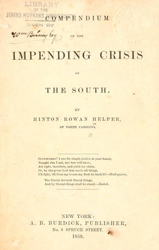 Download Compendium of the impending crisis of the South.