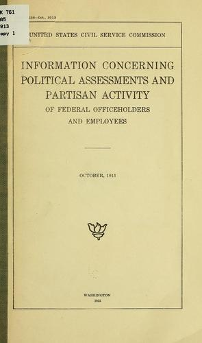Information concerning political assessments and partisan activity of federal officeholders and employees