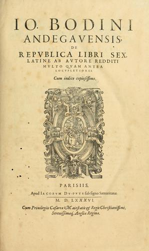 Download Io. Bodini Andegavensis De republica libri sex