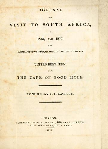 Journal of a visit to South Africa, in 1815, and 1816.