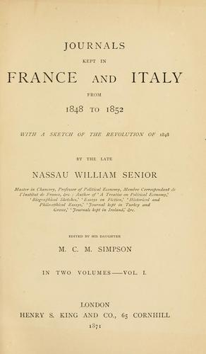 Download Journals kept in France and Italy from 1848 to 1852