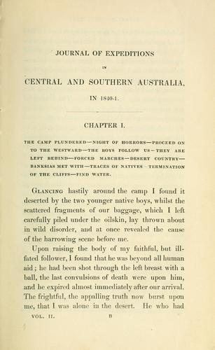 Download Journals of expeditions of discovery into central Australia, and overland from Adelaide to King George's Sound, in the years 1840-1