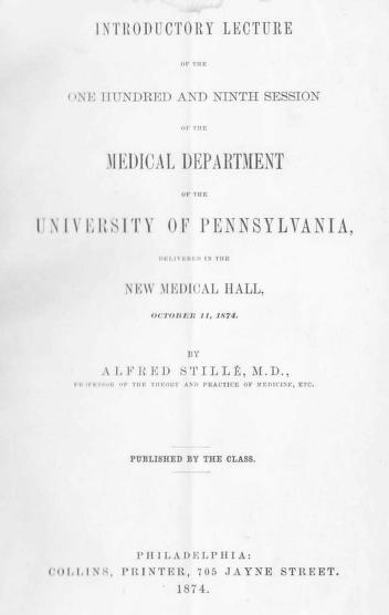Cover of: Introductory Lecture of the One Hundred and Ninth Session of the Medical Department of the University of Pennsylvania |
